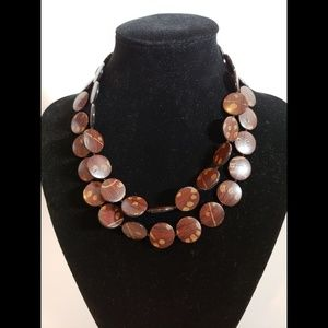 """15"""" Wood Style Necklace Brown and Tan Long"""